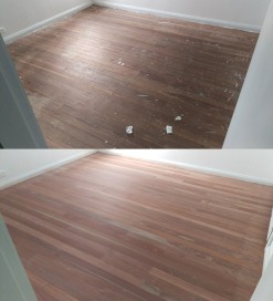 Before and after the sanding process on a old hardwood floor
