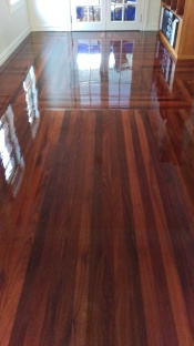 Patterned hardwood floor with a high gloss