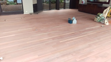 Sanding in process at Tumbling Waters Retreat's function centre in Stanwell Park