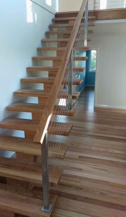 Stairs and floor coated with water based polyurethane