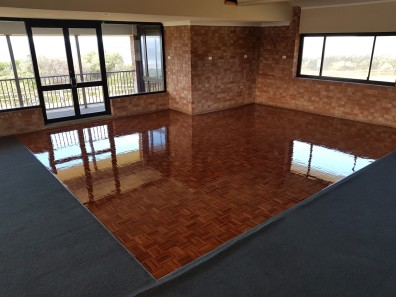 Parquetry dance floor repaired and rejuvenated at Fairy Meadow SLSC
