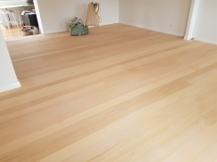 Hardwood floor all sanded and ready for coating