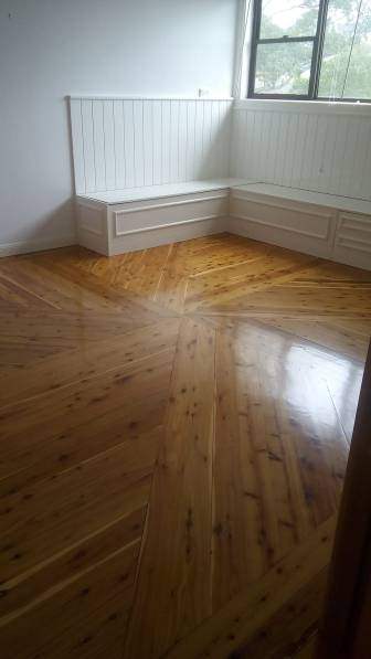 Patterned Cypress Pine floor in Dapto coated with a solvent based satin finish